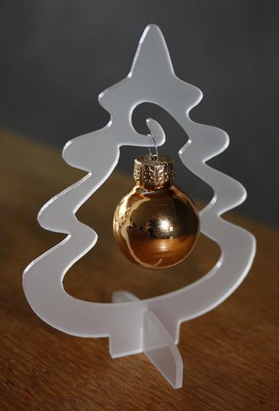 Acryl-Weihnachtsbaum (steckbar) ca. 9 cm hoch mit  Glaskugel